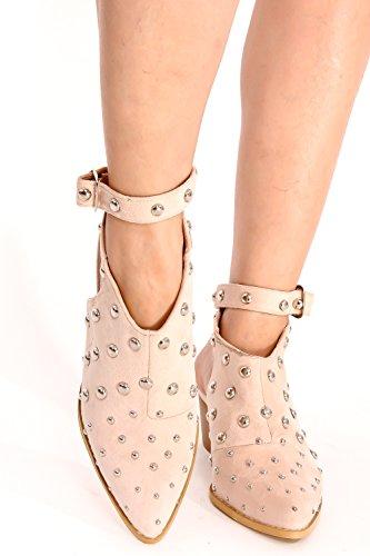 Lolli Pelle Scamosciata Couture Close Point Toe Multi Strap Aperto Posteriore Rivetto Design Cinturino Alla Caviglia Fibbia Tacchi Grandi Scarpe Rosa