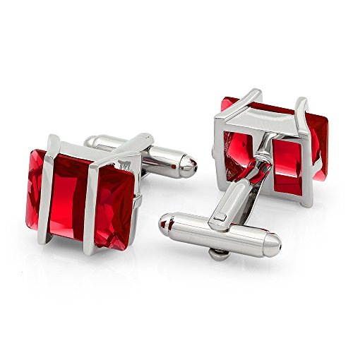 Red Plated Cufflinks - Kemstone Red Cubic Zirconia Crystal Cufflinks Silver Tone Jewelry for Men