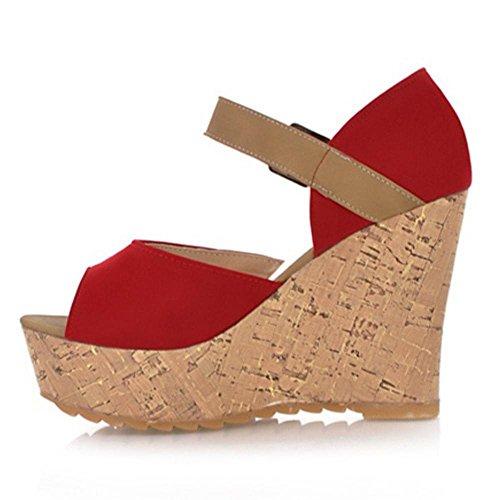 Femmes Chaussures Compensees Sandales Red RAZAMAZA HwSPx74qS