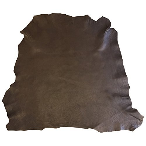Genuine Craft Leather Hides - Top Quality Lambskin - Spanish Full Skins - Dark Brown Color - 6 sq ft - 2 oz avg Thickness - Rustic Finish - Real Sheepskin Material - Home Decor Upholstery Fabric