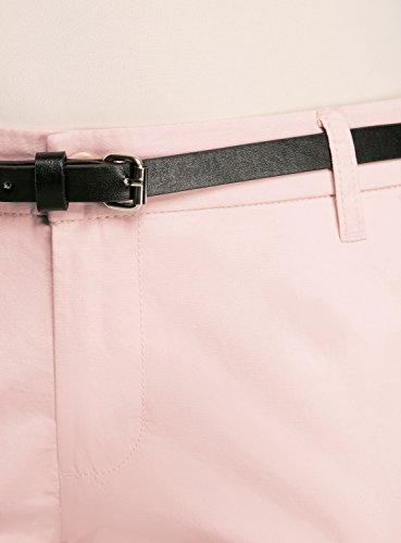 oodji Ultra Mujer Pantalones Chinos con Cinturón Rosa (4000N)
