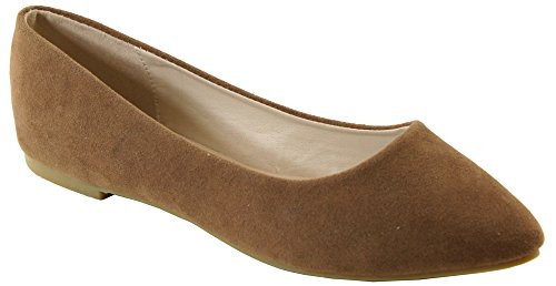 Bella Marie Angie-53 Women's Classic Pointy Toe Ballet Slip On Suede Flats,6.5 B(M) US,Light Brown