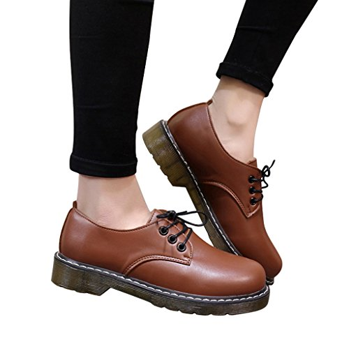 Dear Time Women Lace Up Oxford Shoes Brown unmWTT