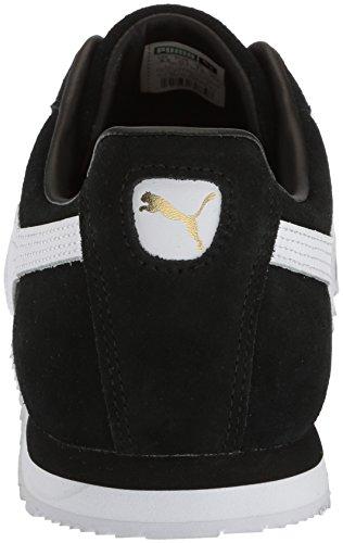 Puma Uomo Roma Scamosciato Moda Sneaker Puma Nero-puma Bianco-puma Squadra Oro-verde Amazzone