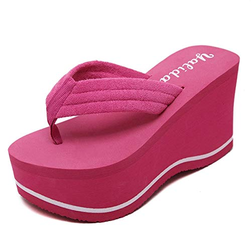 c6c1dca9b9b99d Amazon.com  JingZhou 2018 Hot Soild Wedge Platform Flip Flops Woman Shoes  Summer Women High Heels Beach Sandals Ladies Thick Pantufas  Garden    Outdoor