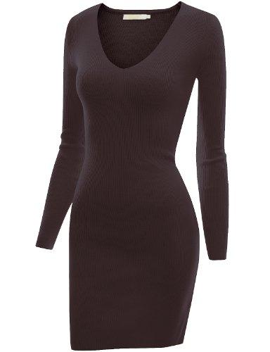 Doublju Women 3/4 Sleeve Sweater Loose fit BROWN Dress,XL