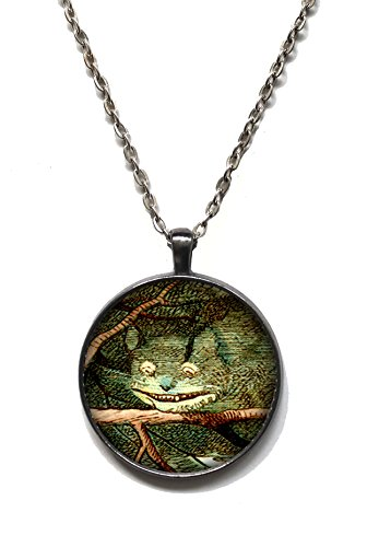 Victorian Vault Art Painting Alice in Wonderland Circle Pendant Necklace on Chain (Cheshire Cat) (Goth Cheshire Cat Costume)