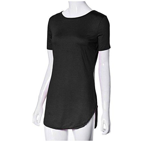 Les Dames Des Femmes Sexy Koly® Tops Côté Manches Courtes Fente Partie T-shirt Décontracté Mini-robe Noire