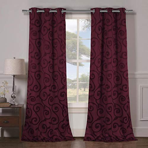 Duck Drapes - Duck River Textiles - Lewis Solid Faux Silk Textured Blackout Room Darkening Grommet Top Window Curtains Pair Panel Drapes for Bedroom, Living Room - Set of 2 Panels - 38 X 84 Inch - Wine