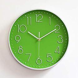 Silent Wall Clock Modern Design Quartz Wall Watch Plastic Antique Designer Clock Home Decor (Color : Green)