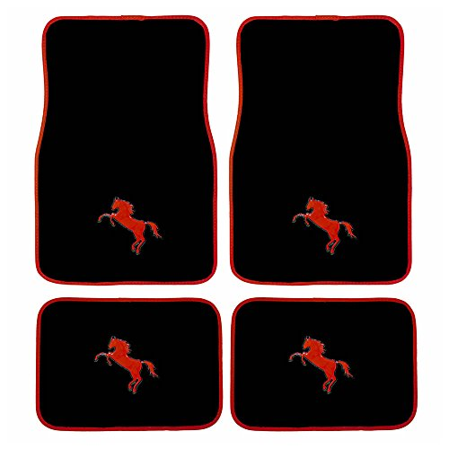 4pc Universal Red Mustang Horse Pony Front and Rear Black Carpet Floor Mats for Car Suv Truck (Mat Red Rear)