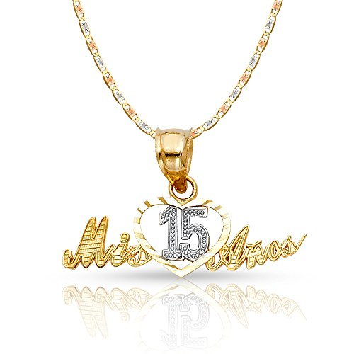 14K Two Tone Gold Sweet 15 Years Quinceanera Heart Mis 15 Anos Charm Pendant with 1.5mm Valentino Chain Necklace - 20