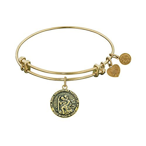 Angelica Collection Antique Yellow Brass Saint Christopher Bangle Bracelet by Angelica Collection
