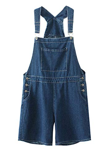 Soojun Women's Loose Fit Adjustable Denim Short Overalls, Indigo Blue, Large