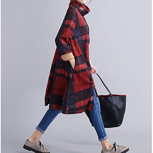 orange pull QBQ Imprim automne Femmes hiver Vintage irrgulire Jersey Neck longues manches Turtle Rouge wrT6nwfO