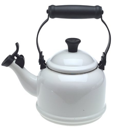 (Le Creuset Q9401-16 Enamel-on-Steel Demi 1-1/4-Quart Teakettle, White, 1.25)