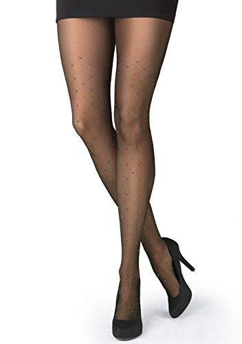 Gatta RONNA 27 Sheer Black Patterned Tights with Sparkle Design [Made in Europe] (3(M) 5'4