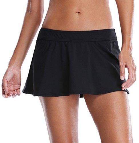 ATTRACO Womens Ruffle Skirted Bikini Bottom Solid Swimdress Skirt