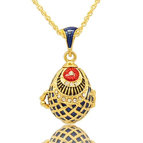 Enamel Egg Pendant - MYD Jewelry Hand Enamel Fish Shaped Easter Russian Locket Faberge Egg Pendant Necklace (Blue)