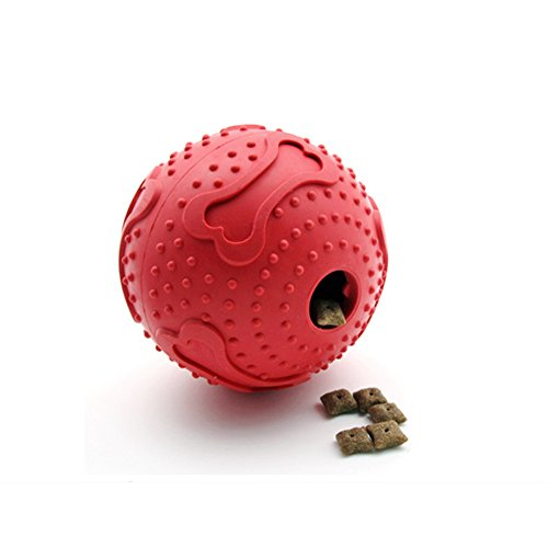 S-Lifeeling Durable Nature Rubber Dogs Treat Dispenser Pet treat Toy Cube Dispenser Treat TPR Round Waggle Ball Toy