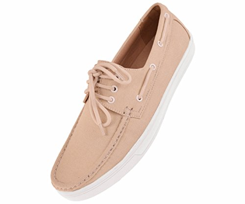Lace Lace Up Boat Shoes - Amali Mens 3 Eye Lace up Boat Shoe in Natural Canvas with Matching Laces and White Detail Style Kaz