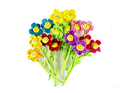 WYNMarts 16PCS Daisy Plush Flowers Smiley Face, 13 Inches Long Bendable Stems 8 Assorted Colors Happy Smiles Sunflowers Gift for Boys and - 13 Stems