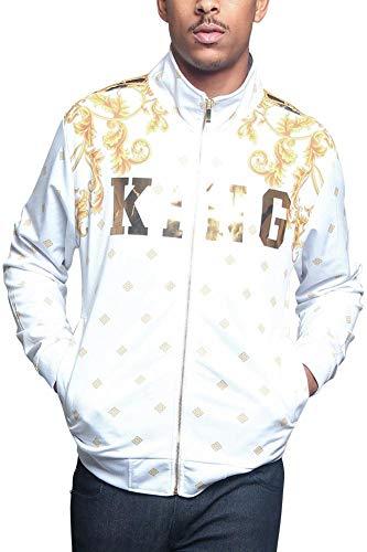 G-Style USA Men's Jeweled Tiger King Zip Up Track Jacket JK5000 - White - Medium - V6E