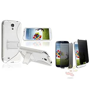 Quaroth Everydaysource Compatible with Samsung Galaxy S IV/ S4 i9500 Clear / White S Shape TPU with Stand Case + Privacy...