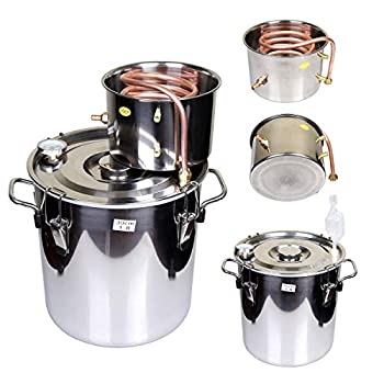 Image of Home and Kitchen Goetland 5 Gallons Moonshine Still Spirits Kit Water Alcohol Distiller Home Brew Wine Making Kit Oil Boiler Copper Tube Stainless Steel