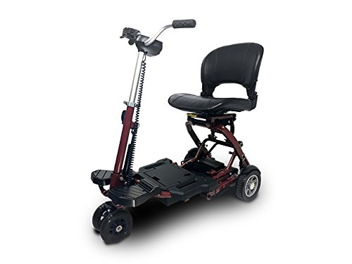 MiniRider Folding is a compact mobility scooter, Indoor/Outdoor use, Easy Pull Throttle, Key Ignition and Battery Gauge- Red, Bundled with Outdoors Equipments 1-Year Extended Warranty