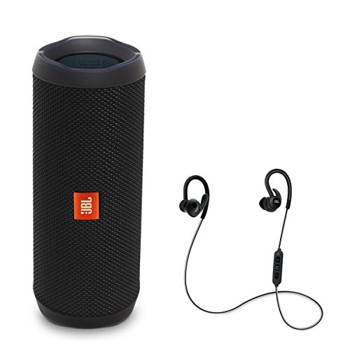 JBL Flip 4 Portable Waterproof Bluetooth Speaker with Reflect Contour Wireless Bluetooth In-Ear Headphones (Black)
