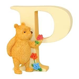 Classic Pooh - Figura decorativa, diseño de la letra P, Winnie the Pooh y flores