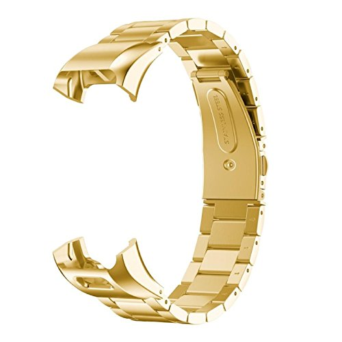 Price comparison product image Owill Solid Colour Stainless Steel Accessory Watch Band Strap Metal Bands For Garmin Vivosmart HR, Band Length:220MM (Gold)
