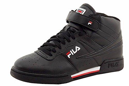 Fila Men's f-13v Lea/Syn Fashion Sneaker, Black/White Red, 9 M US
