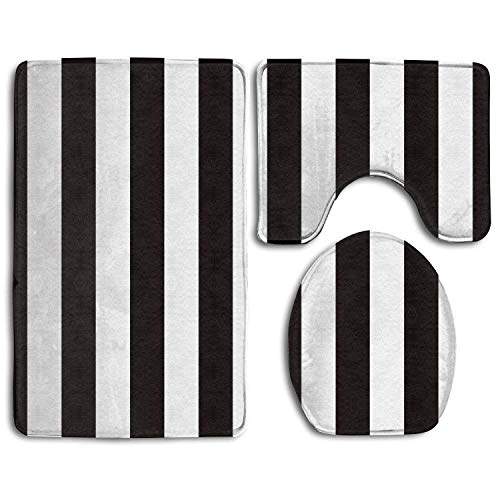 (DING Black White Stripe 5 Soft Comfort Flannel Bathroom Mats,Anti-Skid Absorbent Toilet Seat Cover Bath Mat Lid Cover,3pcs/Set Rugs)