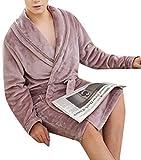 Spirio Men Sleepwear Robe Thicken Turkish Flannel Belted Kimono Bathtobe Purple 2XL
