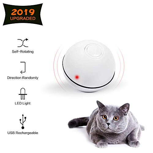 Cat Toys Ball Best Interactive Cat Toy Automatic Self-Rotating and USB Rechargeable LED Light Electronic Cat Toy Balls for Indoor Cats Exercise Toys (Newest Version)