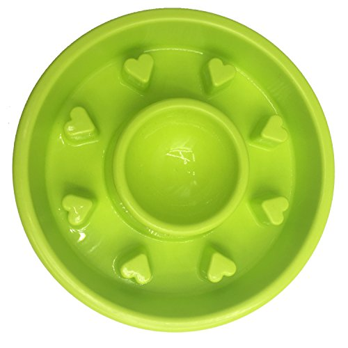 Pet Cuisine Slow Feeder Dog Bowl Anti-Gulping Interactive Puppy Slower Food Feeding Dishes Green Heart