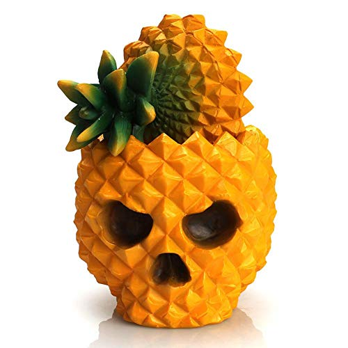 Lijuan Qin Pineapple Skull Head Stationery Holder, Novelty Skeleton Makeup Organizer for Desk Organizer Home Party Wedding -