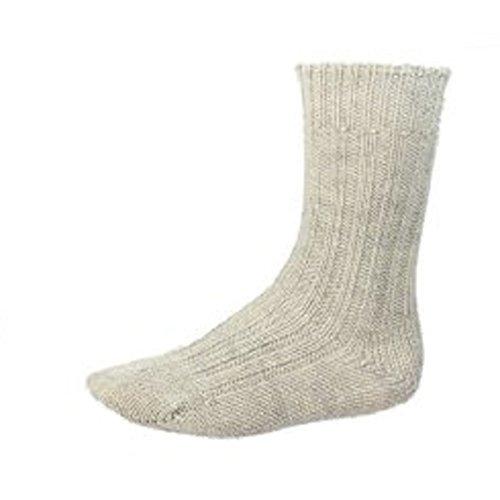 [Organic Wool Socks Oatmeal Sheep Wool Large] (Mens Apparel Wool Socks)