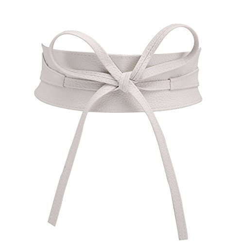 (CHIC DIARY Fashion Women Faux Leather Bow Tie Waistband Elastic Stretch Waist Strap Cummerbund Waist Band Belt for Dress (White))