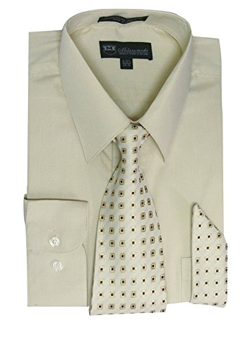(Milano Moda Men's Long Sleeve Dress Shirt With Matching Tie And Handkie SG21A-SoftButter-17-17 1/2-34-35)