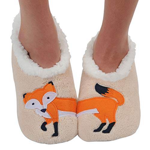 Snoozies Womens Classic Splitz Applique Slipper Socks - Feelin