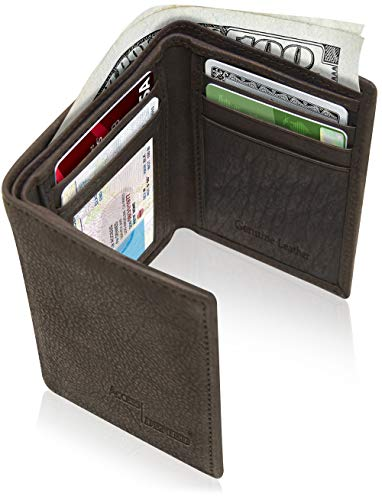 Trifold Leather Wallets For Men Slim - Mens Wallet Billfold