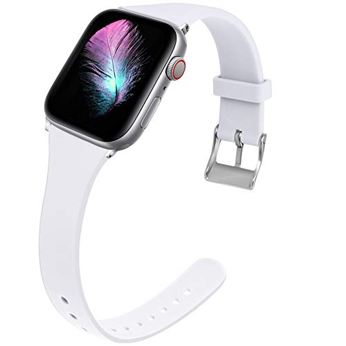 Kaome Slim Sport Band Compatible with Apple Watch Band 44mm 42mm Waist Elegant Strap, Soft Silicone Replacement Wristband for iWatch Band Series 4 3 2 1 Durable, Colorful Design for ()