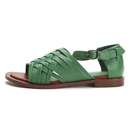 AllhqFashion Womens Cow Leather Solid Metal Open Toe Low-heels Sandals Green 7Itsln