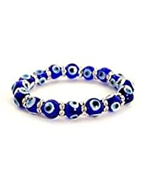 Buycrafty Evil Eye Bead Bracelet 10mm Blue Stretch Good Luck Protection Glass Lampwork