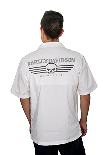 Harley-Davidson Mens Performance Skull Garage White Shirt 99069-12VM (Flame Skull Button Down Shirt)