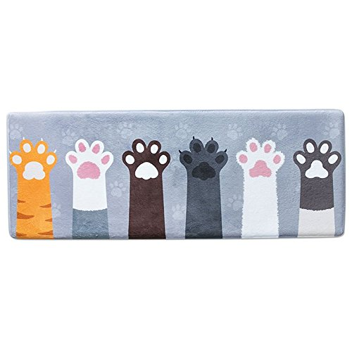 Wolala Home Coral Fleece Memory Foam Rug Super Soft Non-slip Absorbent Bathroom Rugs Cute Cat Foot Thickening Kids Rug Runner (1'5x4'0, Gray)
