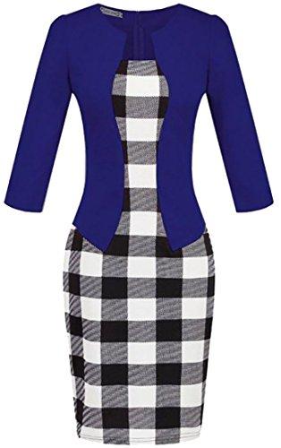Cruiize Des Femmes De Robes Moulantes Faux Deux Carreaux Classiques De Bureau Imprimé Bleu Foncé